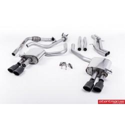 Audi S4 3,0TFSi V6 B9 Milltek Sport Cat-Back 4x svarta ovala utblås (med original avgasstyrning)