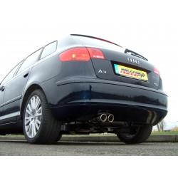 Audi A3 2,0T Sportback Quattro 8P Milltek Sport Cat-Back 2x 76 JET utblås - Resonated (dämpad)