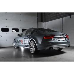 Audi S7 4,0TFSi V8 C7 Milltek Sport Cat-Back 4x 100 svarta GT utblås med aktiva avgasventiler - Resonated (dämpad)