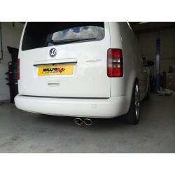 VW Caddy 2,0TDi (2wd) Milltek Sport från Partikelfilter 2x 100x80 Ovala chrome utblås - Non-Resonated (mindre-dämpad)