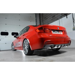 BMW 328i automat F30 Milltek Cat-Back 2x 90 chrome GT utblås (kräver 335i F30 diffuser) - Non-Resonated (mindre-dämpad)