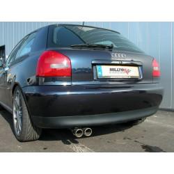 Audi A3 1,8T (framhjulsdriven) Milltek Sport Cat-Back 2x 76,2 chrome JET utblås - Resonated (dämpad)