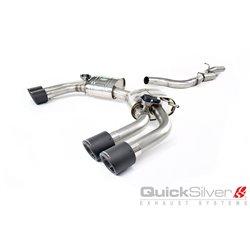 Audi S3 2,0TFSi Sedan 8V QuickSilver Cat-Back 4x kolfiber utblås med aktiv avgasstyrning
