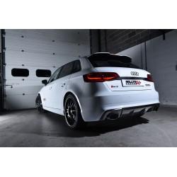 """Audi RS3 2,5TFSi Sportback 8V Milltek Sport 3"""" Cat-Back 150 X 95 Svarta ovala utblås med avgasventiler - Non-Resonated (mindre-d"""
