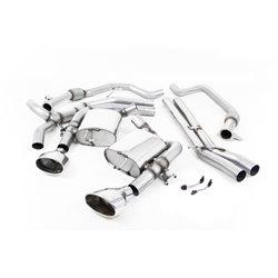 "Audi RS4 B9 Milltek Sport 3"" Cat-Back 2x 170x107 Chrome Ovala utblås med avgasventiler - Resonated (dämpad)"
