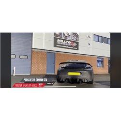 Porsche Cayman 718 4,0 GT4 OPF Milltek Sport Cat-Back (OPF-delete) med aktiva avgasventiler 2x Svarta 115mm GT Utblås